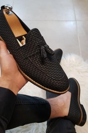 Siyah Kareli Ayakkabı - OLD 4001